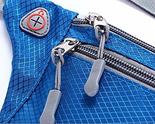 IKuaFly Borsa a marsupio Due tasca della chiusura lampo impermeabile Esecuzione Cintura a due dimensioni del telefono cellulare Sport Vita marsupio iphone 6/7 plus