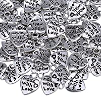 TOAOB 25pcs Antique Silver tone Heart Charms Made with Love Charm Pendant  10mmx12mm For Jewellery Making
