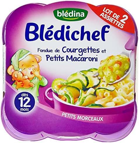 Blédina Blédichef Assiette Fondue de courgettes et petits macaronis dès 12 mois 2x230g