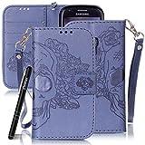 Slynmax Handytasche Schutzhülle für Samsung Galaxy S3 Mini Hülle Tasche Flip Wallet Ledertasche Brieftasche Lederhülle Lanyard Bookstyle Slim Handyhülle Stand Karte Magnet Magnetverschluss Shell(Blau)