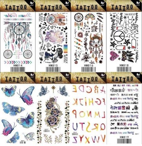 Grashine 8pcs différent long dernier et tatouages temporaires réalistes dans 1package, il comprenant 26 lettres anglaises et toem tribal d'Indiana, fleurs, papillons, autocollants de tatouage de roses