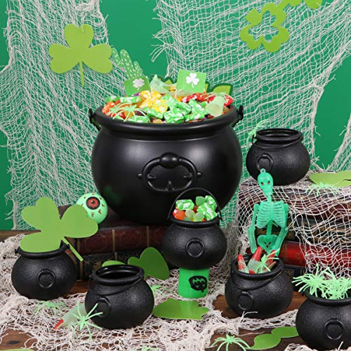 BESTonZON 7 Stück Plastikkessel und 6 Stück Augäpfel, Candy Kessel, Mehrzweck-Neuheit Candy Holder Pot mit Griff für Halloween, St. Patrick's Day Party Favors - 7