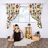 LULANDO Kinderzimmer Vorhänge Kindervorhänge Gardinen (155 cm x 120 cm) mit zwei Schleifenbändern zum Verzieren. In kinderfreundlichen Motiven erhältlich. Farbe: ZOO Ecru