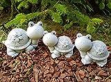 Garten Deko süße Schildkröten Familie 3er-Set Steinfiguren frostfest