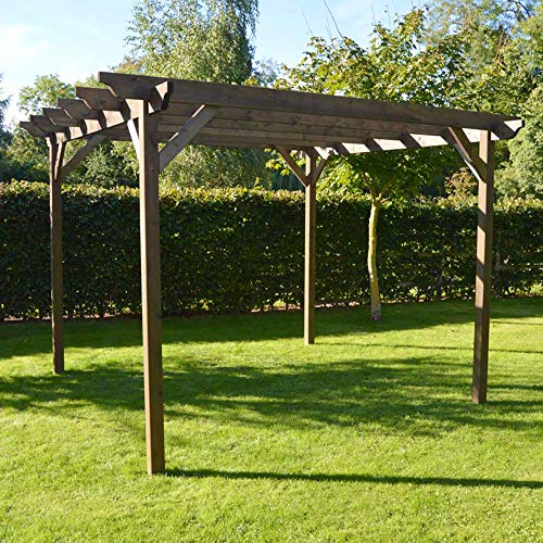 Rutland County Garden Furniture Wooden Garden Pergola Sculpted Rafter - 4 Post Design (3m x 3m, Rustic Brown)