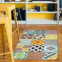 Alfombra de vinilo con diseño de azulejos combinados–60x 100cm
