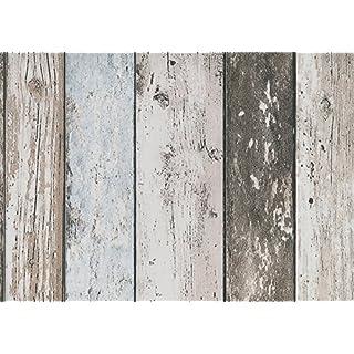 Dutch Wallcoverings 7328-7 Wallpaper Scrap Wood Beige/Blue