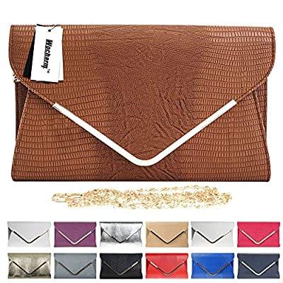 Wocharm Ladies Croc Black White Navy Blue Gold Grey Red Ivory Envelope Clutch Bag Womens Evening Party Handbag