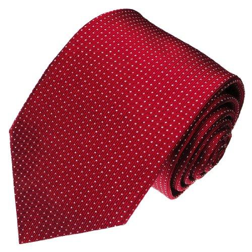 LORENZO CANA - Designer Luxus Krawatte aus 100% Seide - rot bordaux weinrot weisse Punkte - 84300