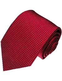 LORENZO cANA-cravate de designer de luxe en 100%  soie-rouge bordeaux-bordaux 84300 avec pois blancs