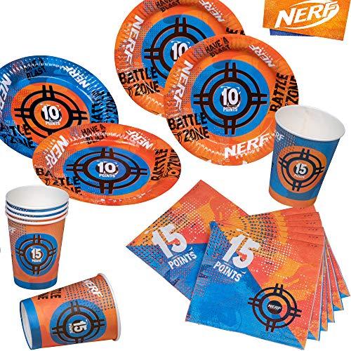 Kit de fête 2019 : 69 pièces * Nerf * pour Anniversaire d'enfant avec 12 Assiettes + 12 gobelets + 20 Serviettes + décoration | Enfants adorent ce Hasbro Blaster