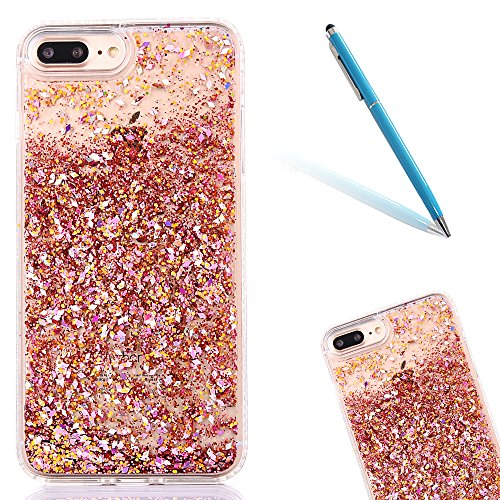 "iPhone 7Plus Hülle, iPhone 7Plus Handytasche, CLTPY 3D Dynamisch Treibsand Flüssige Fließend Glitzer Sparkle Diamant Hartplastik & Soft TPU Hybrid Transparent Schale Case für 5.5"" Apple iPhone 7Plus ( Rosafarbener Diamant"