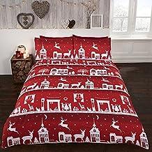 Rojo Funda de edredón y funda de almohada Set de pueblo en invierno de Navidad–135cm x 200cm
