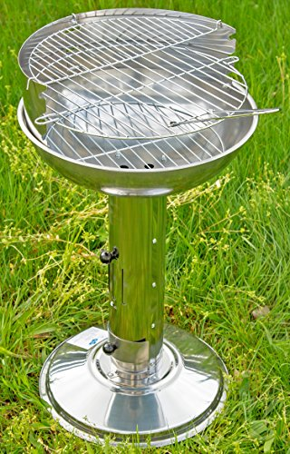 Holzkohle-Grill Säulen-Grill Barbecue-Grill Grill-Kamin Stand-Grill Outdoor Camping Edelstahl Ablage-Bretter silber 68 cm