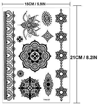 Outee 15 Sheets Black Temporary Tattoos Fake Jewelry Tattoos Henna Temporary Tattoos Temporary Flash Tattoos For Adults & Kids 1