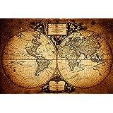 """Póster Mapa del Mundo """"Mappemonde/ Mapamundi"""" (91,5cm x 61cm) + 2 marcos transparentes con suspención"""