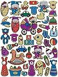 Baby Babies Flasche Schnuller Kinderwagen Bausteine bunt Aufkleber 42-teilig 1 Blatt 135 mm x 100 mm Sticker Basteln Kinder Party Metallic-Look