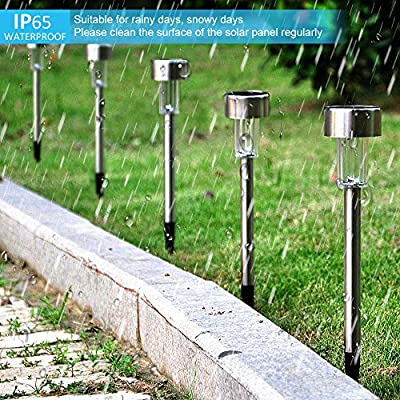 Solarleuchte Gartenleuchte LED Solarlampe 12 Stück Energiesparend IP65 Wasserdicht Edelstahl Ideal für Terrasse, Rasen, Garten Hofwege und Wege von Bawoo