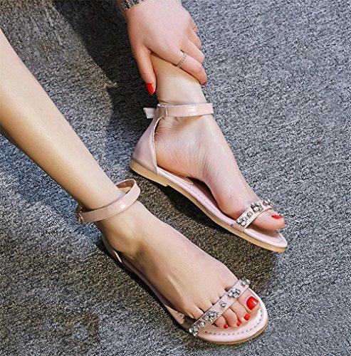 Wort Schnalle flache Schuhe wilde Prinzessin Sommer Sandalen und Pantoffeln Studentinnen Pink