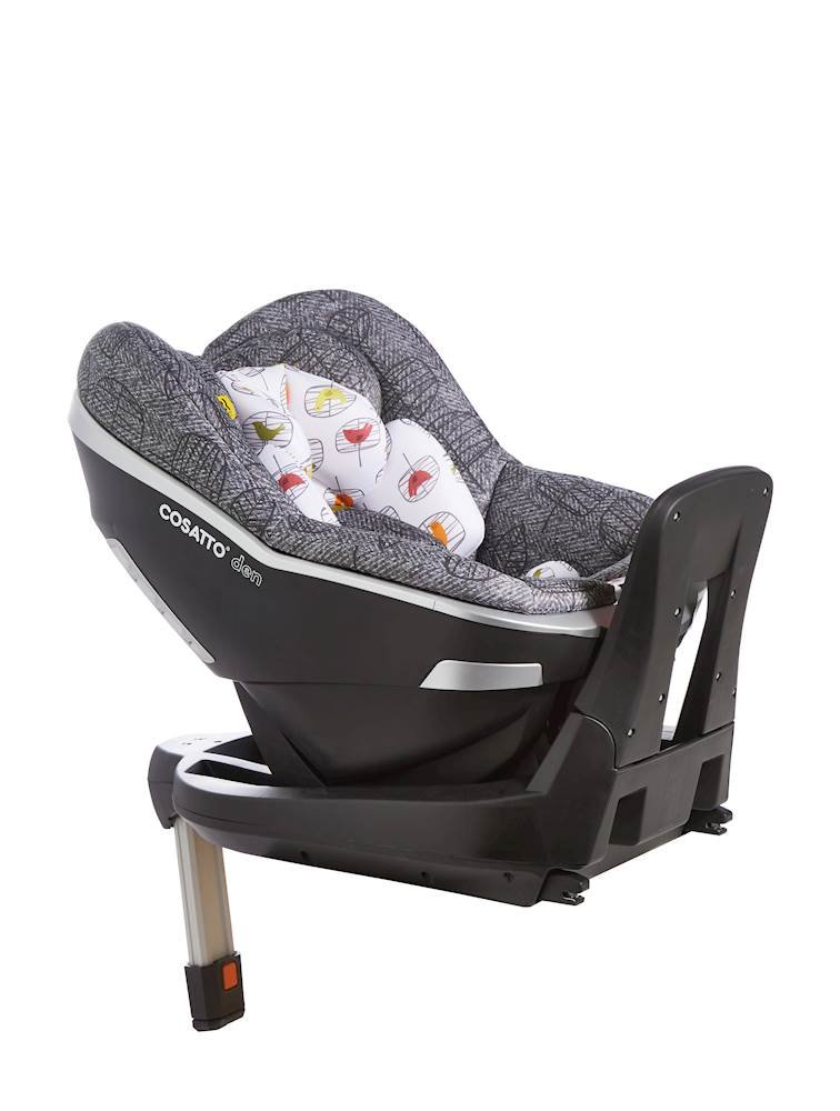 Cosatto Den i-Size Car Seat, Dawn Chorus, Birth to 18 kg Cosatto Rearward facing from birth to 15 months (83 cm child height) for extended protection; then forward facing from 71 cm child height up to 95 cm (approximately 3 years) Den has a built in electronic safe-fitting warning system, with a light and sound feature to prevent incorrect seat fitting One-handed simultaneous harness and headrest adjuster, allows to for easy adjustments without needing to rethread the harness in order to adjust the headrest 2