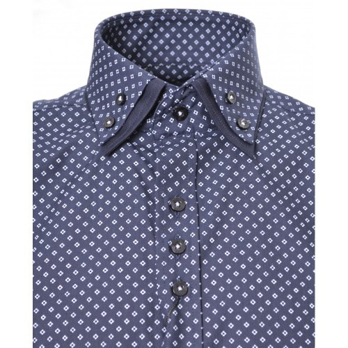 Guide London Navy Blue Double Collar Shirt Blue