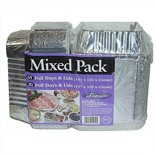 Food foil trays with lids (95 units per pack) by jena