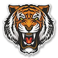 2 x 10cm Angry Tiger Vinyl Sticker Laptop Tablet Car Bike Lion Cat Animal #6679