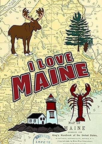 Toland Home Garden I Love Maine Decorative House Flag 28 by 40