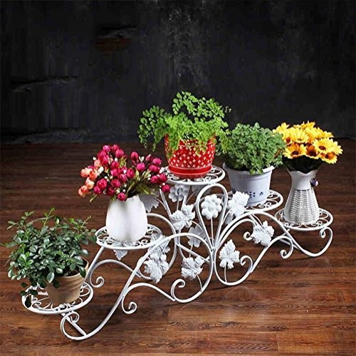 Kreative gestufte Eisen-Kunst-Blumen-Gestelle der Kunst-5 / Stand-stehende Topfpflanzen-Ausstellungsstand für Wohnzimmer-Garten-Balkon ( größe : 127*20*42cm ) (Der Hai Eisen)