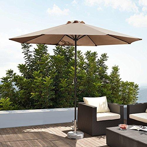 floristikvergleich.de [casa.pro]® Sonnenschirm Ø 300cm [beige] mit Kurbel Sonnenschutz Gartenschirm