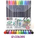 Alta calidad 122436colores de tinta a base de agua doble punta Rotuladores para dibujo brushand punta fina para arte y gráfico dibujo Manga 12 colros