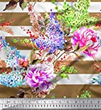 Soimoi Braun Seide Stoff Streifen, Lavendel & Pfingstrose