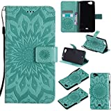 COZY HUT For Wiko Slide Case [Green], PU Leather Sunflower