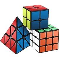 Ensemble Speed Cube,Roxenda Pyramid 2x2x2 3x3x3 Vitesse Cube de Magique; Autocollant Spin Lisse Super Durable avec des…
