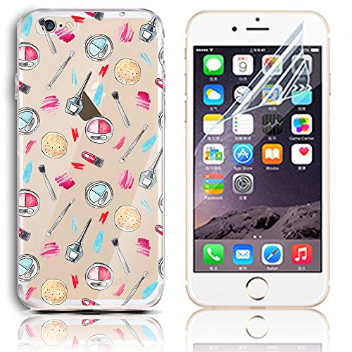 Coque iPhone 8, Etui iPhone 8 Transparent Etui Housse de Protection TPU Silicone Gel Souple Clair Crystal Case Cover Sunroyal Ultra Mince Premium Telephone Portable Skin Hybrid Clear Bumper [Absorbant Motif 32