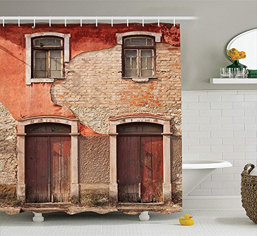 BUZRL Rustic Decor Collection, Abandoned Facade with Wood Windows and Doors in Portugal Damage Rust Image, Polyester Fabric Bathroom Shower Curtain Set with Hooks, Paprika Ivory Brown,66x72 inches -