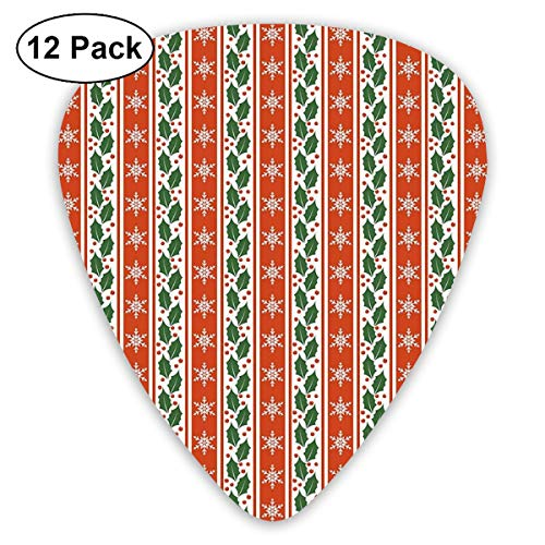 Guitar Picks 12-Pack,Holly Berry Leaves Snowflakes On Vertical Banners Christmas Year - 12 Holly