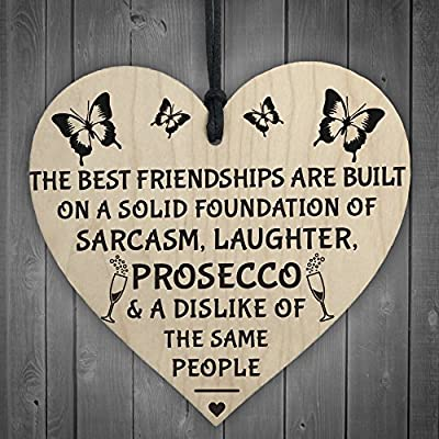 Red Ocean Best Friendships Foundation Is Prosecco Wooden Hanging Heart Alcohol Joke Sign Novelty Plaque Gift from Red Ocean