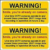 Smile you're already on Camera CCTV WARNING workshop stickers. BURGLAR SECURITY