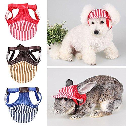 Pet Dog Cat Baseball Cap mit Ohrenaussparung Sommer Outdoor Sunbonnet gestreift Leinwand Puppy Big Pet Hund Katze Visier Mütze Baseball Kappen