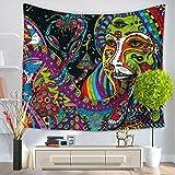 GWELL Wandteppich Psyschedelic Art Wandbehang Bohemian Hippie Tischdecke Tapestry Strandtuch Wandtuch Zimmer Deko Muster-F 150*200cm