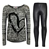 Kids Girls HEART Printed Trendy Top & Fashion Legging Set New Age 7 8 9 10 11 12 13 Years