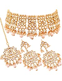 I Jewels Gold Plated Traditional Kundan Choker Necklace Set with Earrings & Maang Tikka For Women (K7069W)
