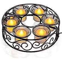 Candelero 6 Brazos Metal GRDE Adorno de Iluminación & Decoración Romántica para Sombrillas y Paraguas de Playa, Boda y Fiesta, Patio, Jardín y Piscina (candelas no incluidas)