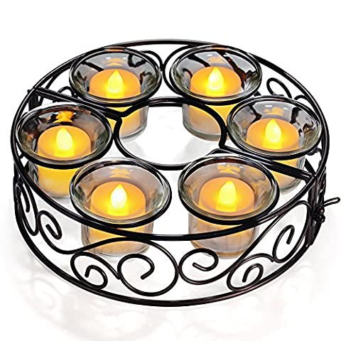 Tea Light Candle Holders 6 Sets Flower- Hollowed Metal Candlestick