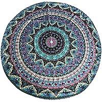 Eizur-Telo da spiaggia, motivo: Mandala, rotondo, in Chiffon Roundie Tovaglia stile Hippy, stile gitano-Telo da spiaggia, Yoga Mat--Diameter, 150 cm