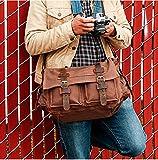 Laptop Bag 14.5 inch Mens Vintage Casual Canvas Messenger Bag Mens Military Leather Canvas Travel Briefcase Crossbody Satchel Shoulder School Bag for Notebook Laptop (Coffe)