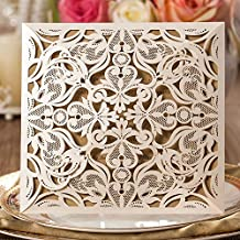 Wishmade 50 x kits de tarjetas de invitaciones de boda,cuadradas y blancas , cortadas por láser, Con flores encaje conjunto de 50, incluyendo pegatinas y sobres
