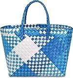 normani Einkaufstasche geflochten mit Henkeln - Tragetasche extra robust Farbe Retro Block/Blue