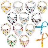 Lictin 12pcs Lätzchen Dreieckstuch mit 2 Schnullerband Baby Halstuch Spucktuch mit Schnullerketten, Unisex Bio-Baumwolle Halstücher Lätzchen mit Druckknöpfen für Babys (0-36 Monate)